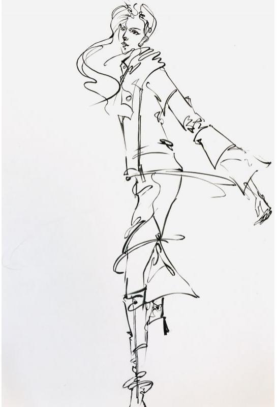 流線型黑白服裝設計描繪_2