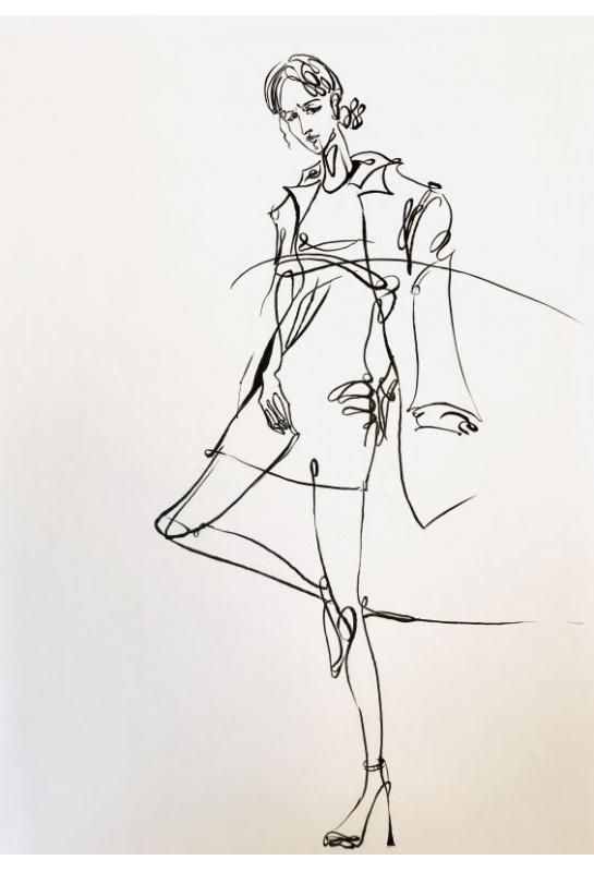 流線型黑白服裝設計描繪_1