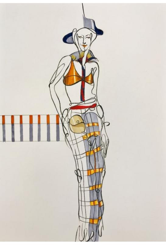 流線型服裝造型結合背景封面設計_2