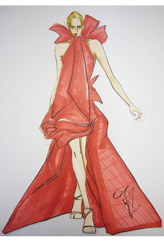 紅色造型長洋裝