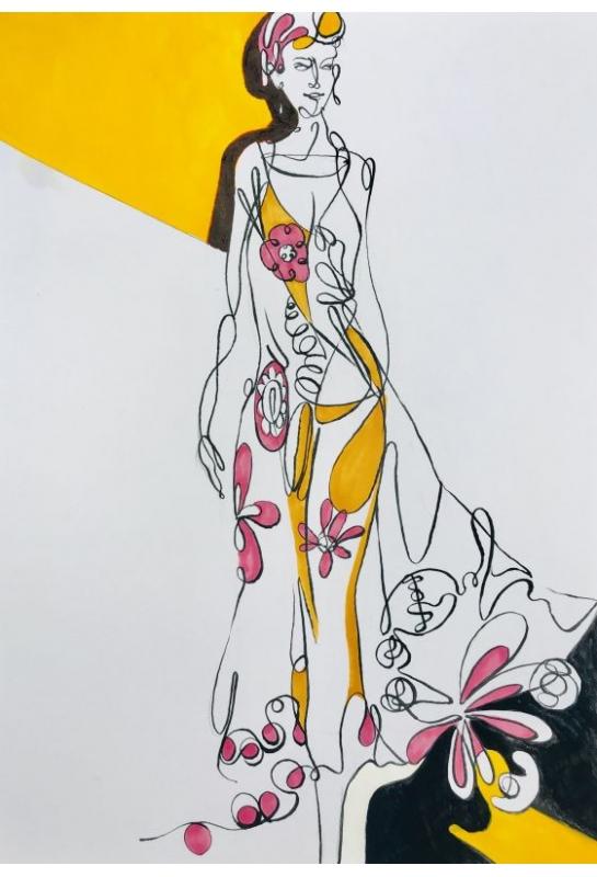流線型服裝造型結合背景封面設計_1