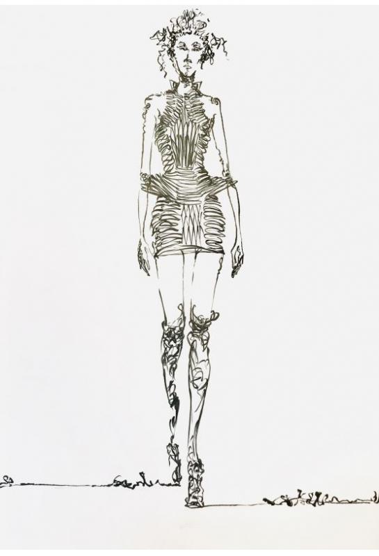 流線型黑白服裝設計描繪_5