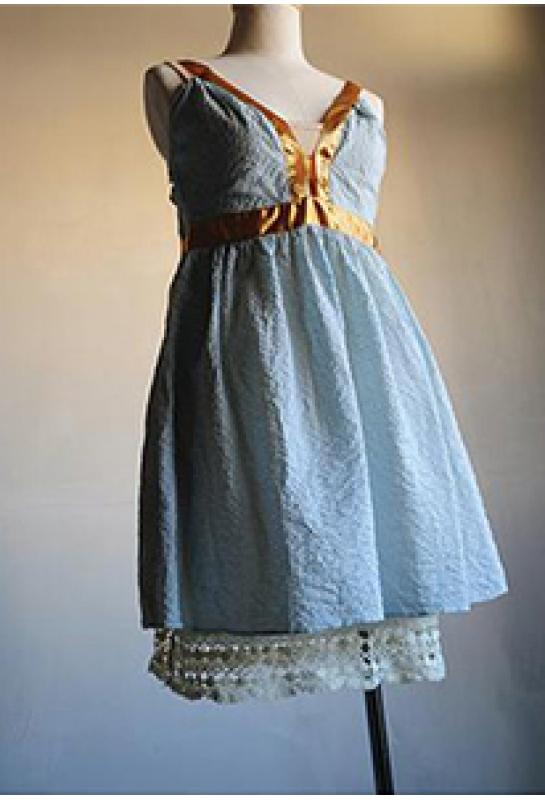 淡藍格子高腰洋裝